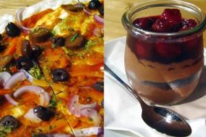 Flammkuchen und Dessert im TIAN Bistro am Spittelberg. Foto: Luise