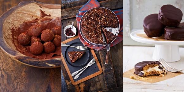 Azteken-Trüffel, Schokoladen-Pekan-Cranberry-Kaffeekuchen, Moon Pies. Fotos: Narayana Verlag