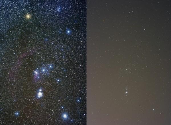Das Sternbild Orion, aufgenommen unter dunklem (links) und lichtverschmutztem Himmel (rechts)