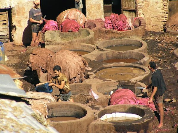 Gerberei und Färberei in Marokko