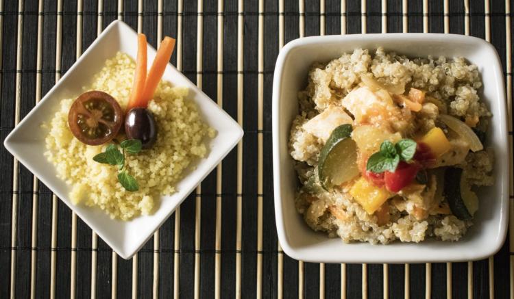 Gemüsegerichte mit Quinoa und Hirse
