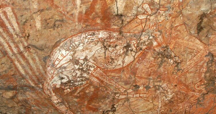 Indigenes Gemälde eines Kängurus auf Stein