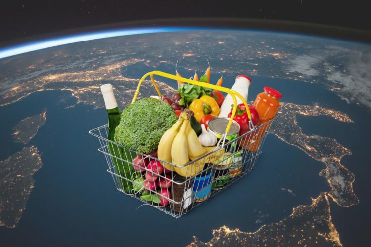 Gefüllter Einkaufskorb vor Planet Erde