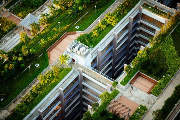 Dachbegrünung auf Hochhaus
