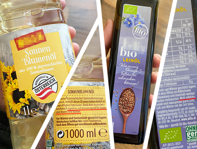 Sonnenblumenöl und Leinöl mit Etiketten